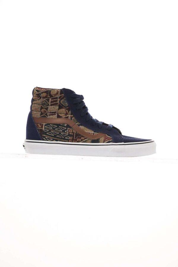 Sneaker in tessuto, con inserti in camoscio, stringata, fantasia geometrica, bande laterali e fondo in gomma.