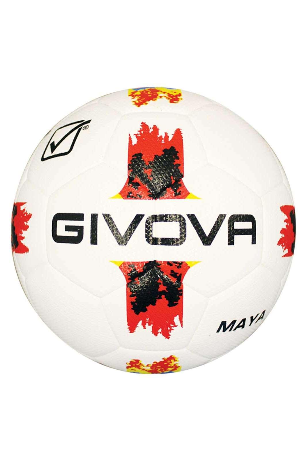 Un pallone da gara il Maya Hybrid proposto da Givova. Costituito da 32 pannelli resi impermeabili dal gel, è interamente cucito a mano. I tre strati e il tessuto in poliuretano lo rendono extra soffice.