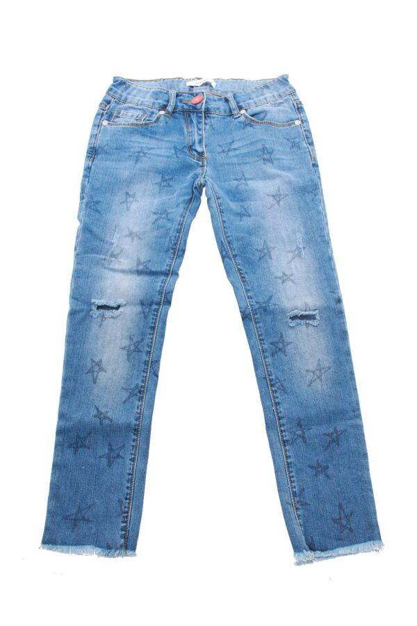 Jeans dal taglio slim, particolare per i suoi disegni di stelle che lo rendono punk.