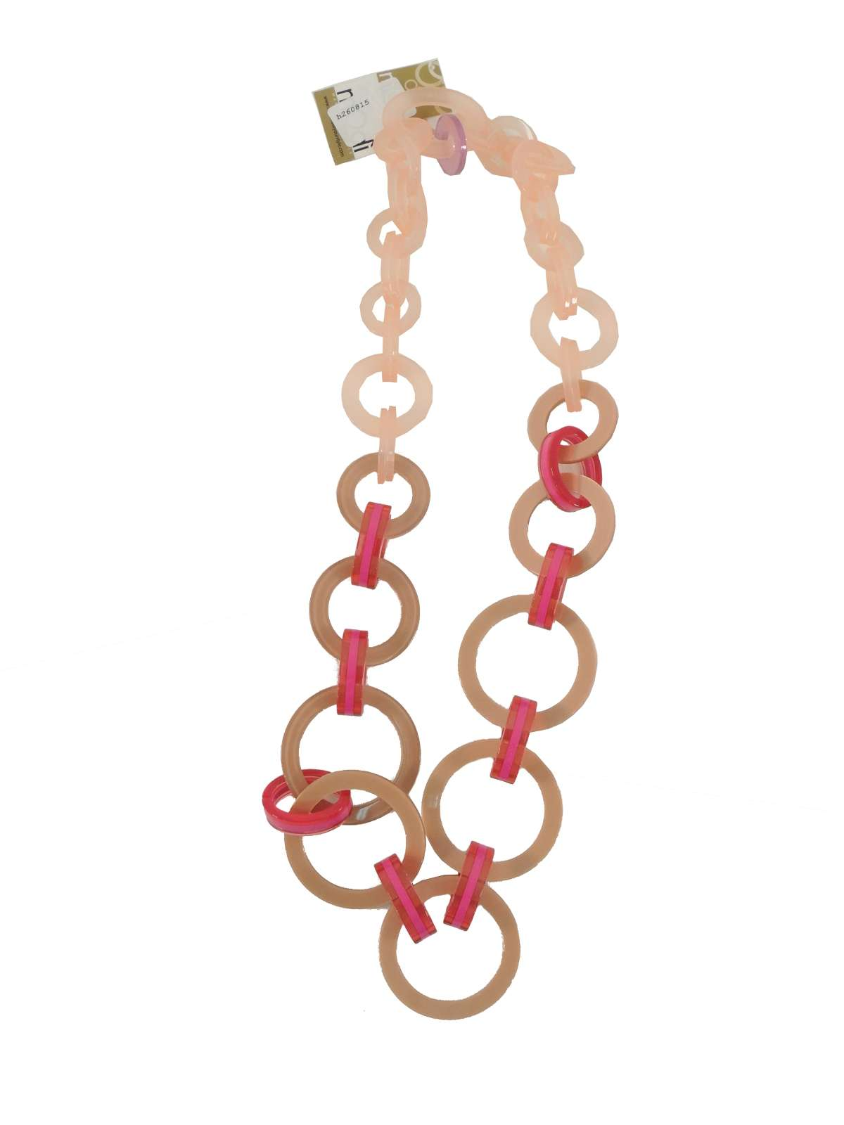 Collana in pvc materiale naturale e al tatto sofisticato, formata da anelli assemblati tra loro.