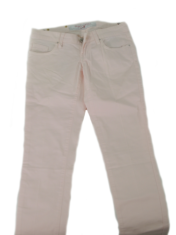 Pantalone cinque tasche, a vita bassa, allacciatura con cerniera e bottoni, slim.
