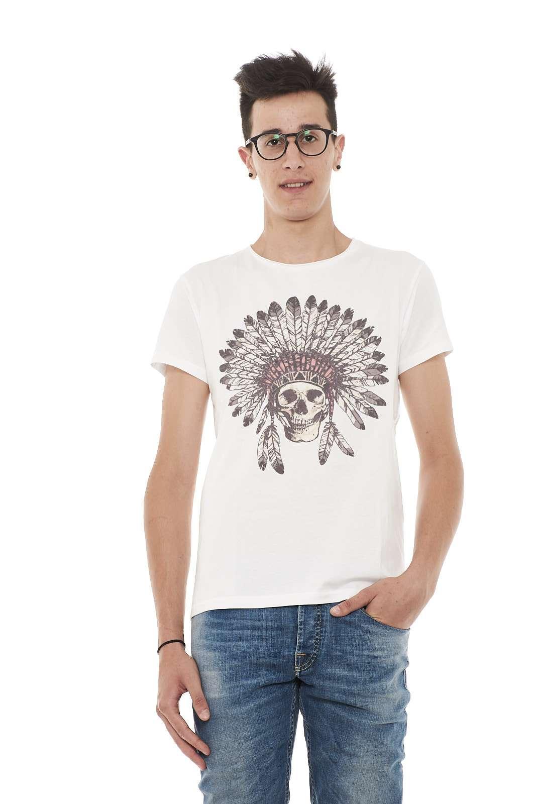 T-shirt in cotone, girocollo, maniche corte, girocollo dal taglio vivo, stampa anteriore.