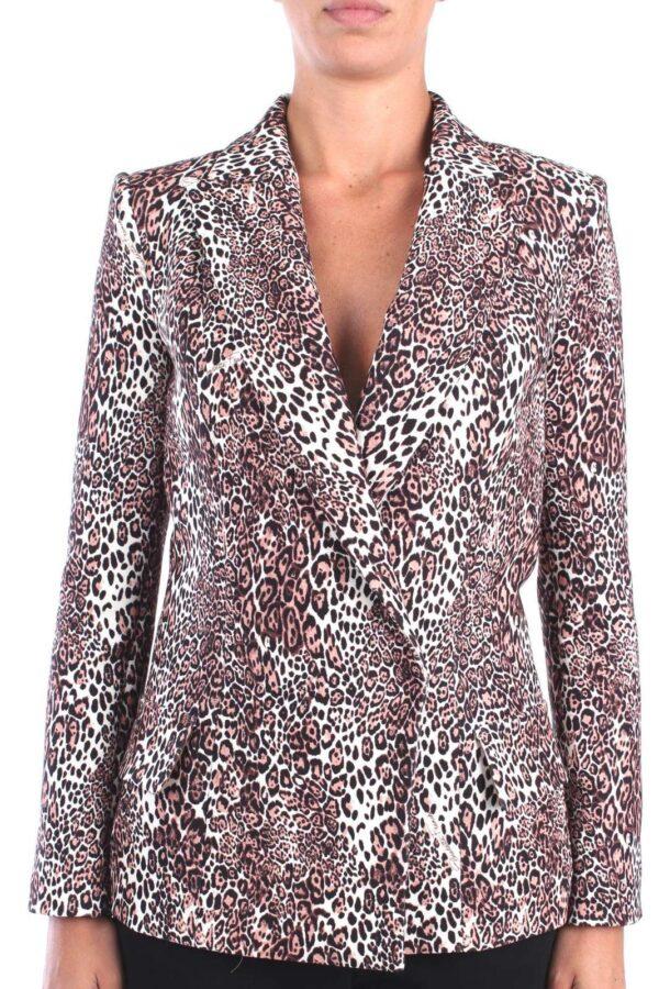 Giacca doppiopetto, taglio lungo con vestibilità aderente nel classico stile Elisabetta Franchi  Una giacca dalla fantasia energica per ravvivare gli outfit più seriosi.