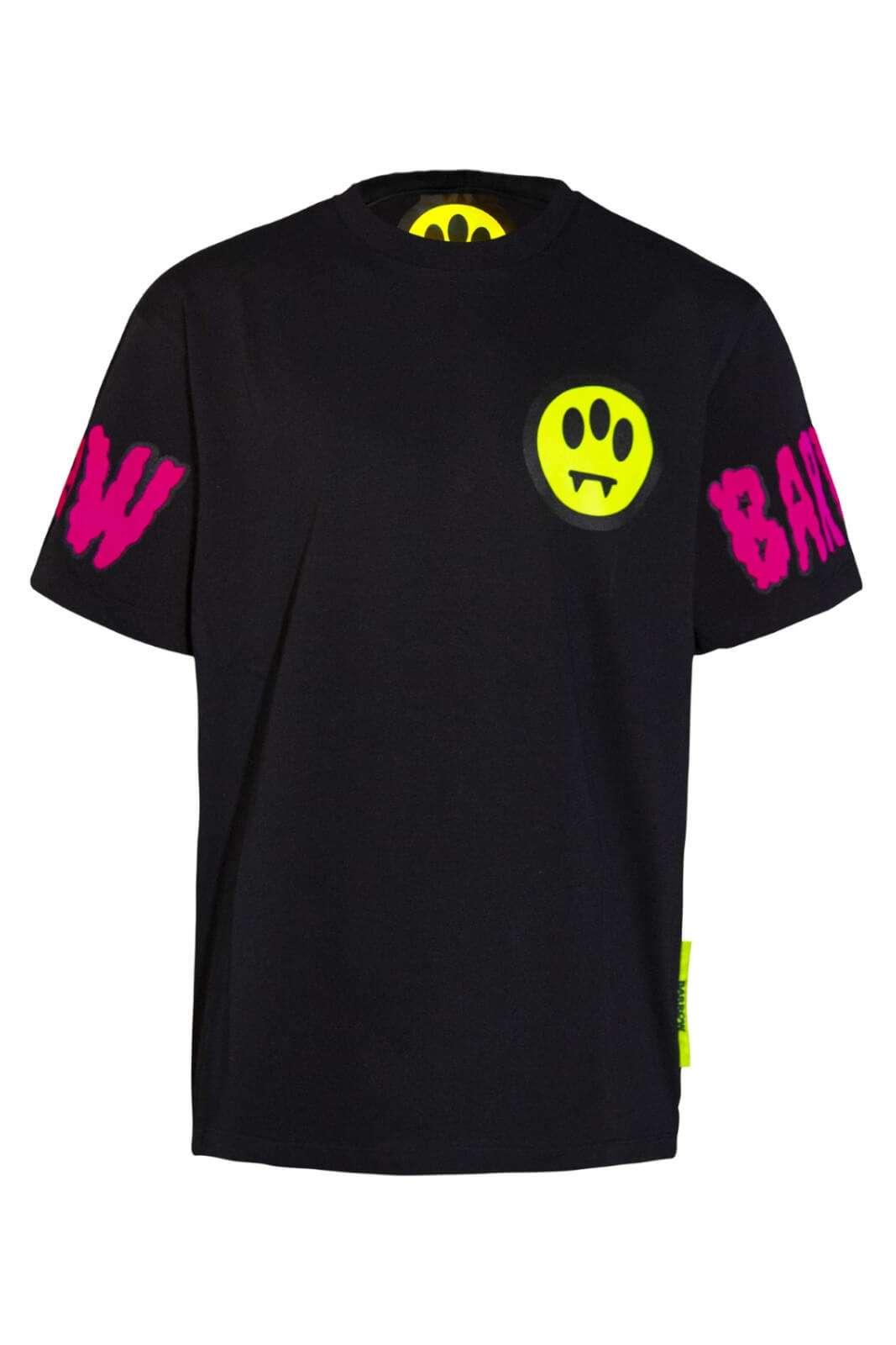 Un tripudio di colori per la nuova T shirt firmata dalla collezione uomo Barrow.  Le stampe flock alle maniche e le stampe serigrafiche sul corpo si impongono per un risultato inimitabile.  Colori fluo su smile per un successo assicurato.