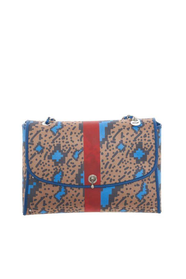 Una borsa colorata e stravagante, che può facilmente trasformarsi in uno zainetto, grazie a dei pratici bottoni, per avere con se un accessorio adatto ad ogni occasione. Per la donna che ama borse versatili.