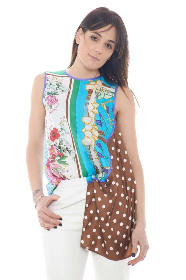 <p>Un top elegante e versatile quello proposto dalla collezione donna Parosh.</p><p>Il tessuto in seta è impreziosito dalla fantasia multicolore con carattere vintage.</p><p>Il taglio asimmetrico e la vestibilità morbida ne esaltano lo stile per un effetto chic.</p>