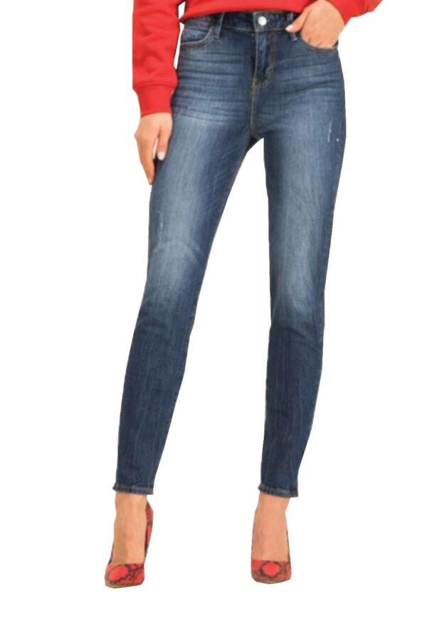 Un denim super skinny fit, quello proposto da Guess donna. I dettagli su questo jeans fanno la differenza, come lo strass e il tessuto usurato, che lo rendono unico. Da indossare in qualsiasi occasione e con diversi tipi di look.
