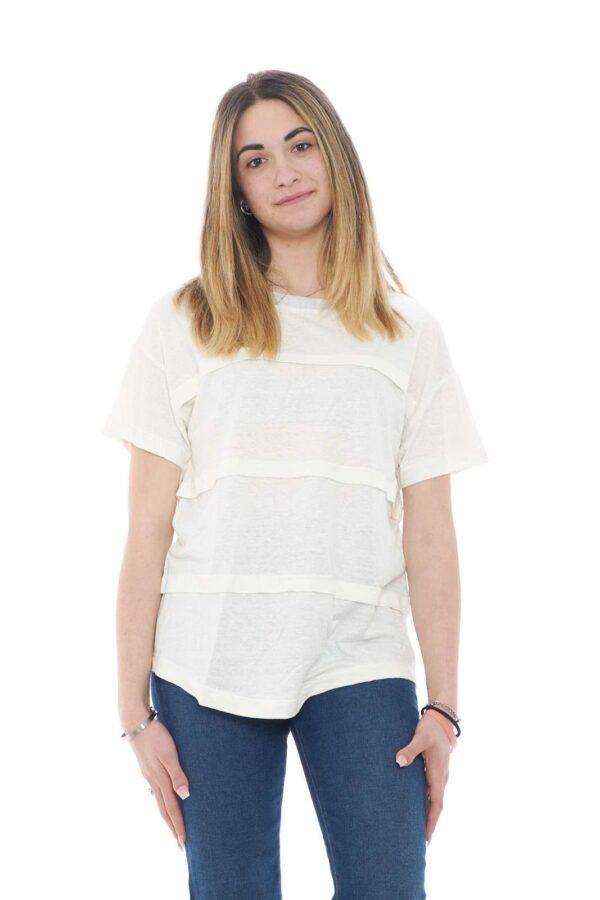 Una t shirt donna con collo in lurex quella proposta da Fabiana Filippi. Da indossare sia nel tempo libero che nelle giornate di lavoro, grazie alla sua comodità. Abbinata ad un jeans o un pantalone è un must have.